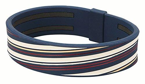 (Phiten Titanium Bracelet Slashline Wide Navy/Beige 6.7