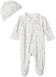Little Me Layette Footie, Rose Floral, Ivory Print, Preemie
