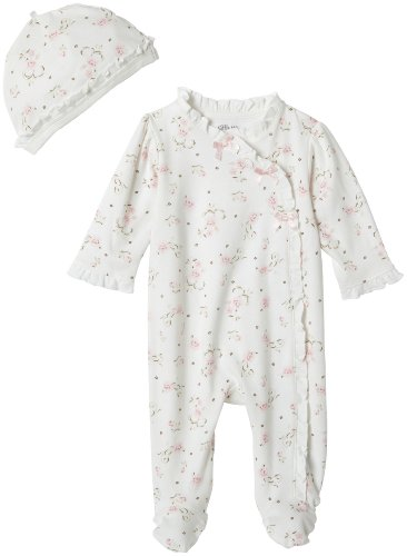 Little Me Baby Girls' Footie and Hat, Ivory Print, Newborn (Preemie Pajamas)