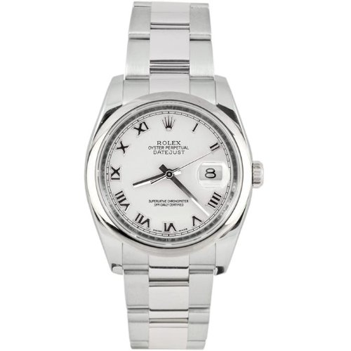 Rolex Mens New Style Heavy Band Stainless Steel Datejust Model 116200 Oyster Band Stainless Steel Smooth Bezel White Roman Dial (Rolex Stainless Steel Band compare prices)