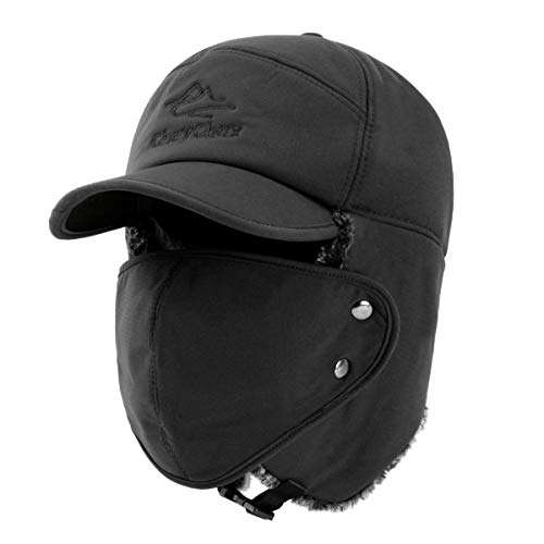ee319ea2bda Yooeen Unisex Warm Winter Trapper Trooper Hat Mens Classic Winter Faux Fur  Bomber Hats with Ear Flap and Windproof Mask Snow Ski Outdoor Sport Hat  Hunting ...