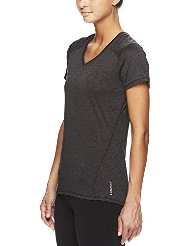 HEAD Women's Brianna Shirred Short Sleeve Workout T-Shirt - Marled Performance Crew Neck Activewear Top - Brianna Charcoal Heather, X-Small by HEAD (Image #2)