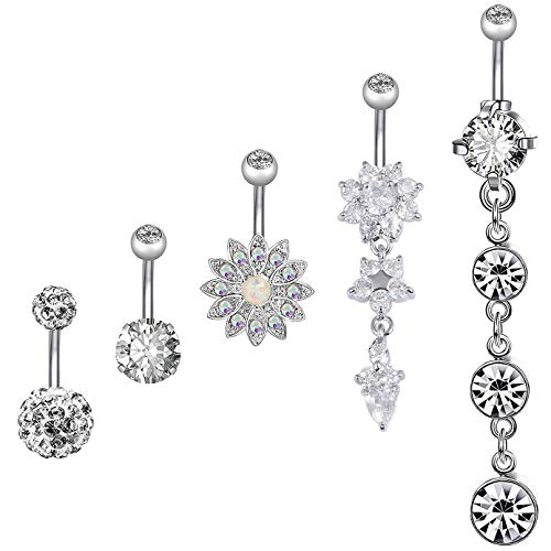 (5PCS 14G Stainless Steel Screw Belly Button Rings for Women Girls Barbell Body Piercing)
