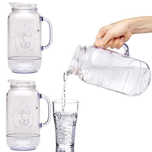 Aladdin (3 Pack) Mason Jar Plastic Drink Pitcher 2.5 Quart Water Carafe Set For Serving Juice Tea Lemonade