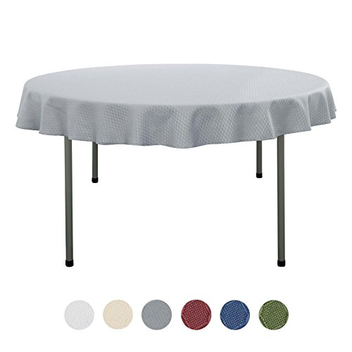 VEEYOO Round Tablecloth 60 inch – Waffle Jacquard Round Tablecloths for Restaurant Kitchen Dining Party Venue Decor, Silver