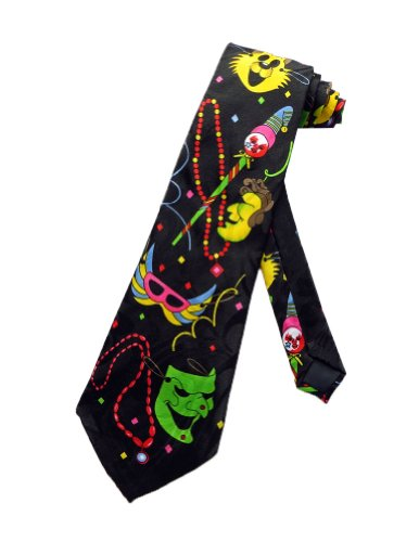 (Steven Harris Mens Mardi Gras Fat Tuesday Necktie - Black - One Size Neck)