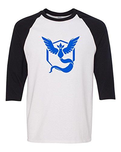 18d4e3929 Custom Apparel R Us Pokemon Go Gym Team Mystic Blue Mens Womens 3/4 Raglan.  Tap to expand