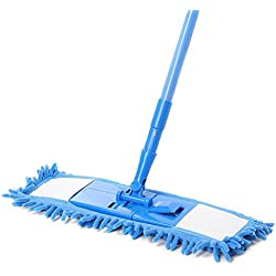 Handheld Sweeper Broom Floor Mops Extendable Microfibre Cleaner Suitable For Tile, Stone, Marble, Laminate, Hardwood Floors. (blue)