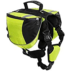 Pet-Carriers Luxury Pet Outdoor Backpack Large Dog Adjustable Saddle Bag Harness Carrier for Traveling Hiking Camping,Gorgeous Green,S