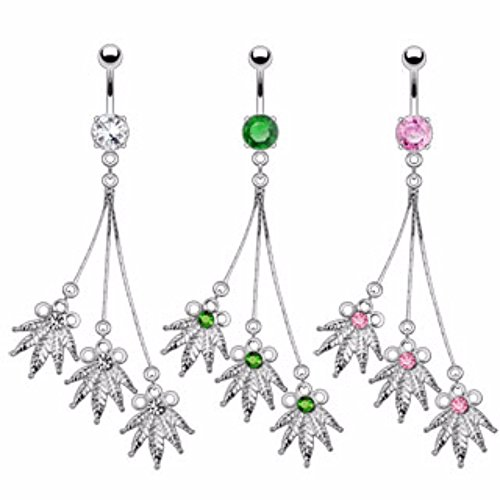 Triple Pot Leaf Dangle Navel Ring Freedom Fashion 316L Surgical Steel