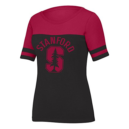 (J America NCAA Stanford Cardinal Women's Stadium Tee, Medium, Black Heather/Cardinal)