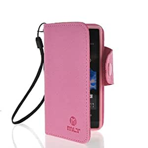 Viesrod KCASE Slim Wallet Card Holder Pouch Flip Leather Case Cover For Sony Xperia Miro ST23i Babypink