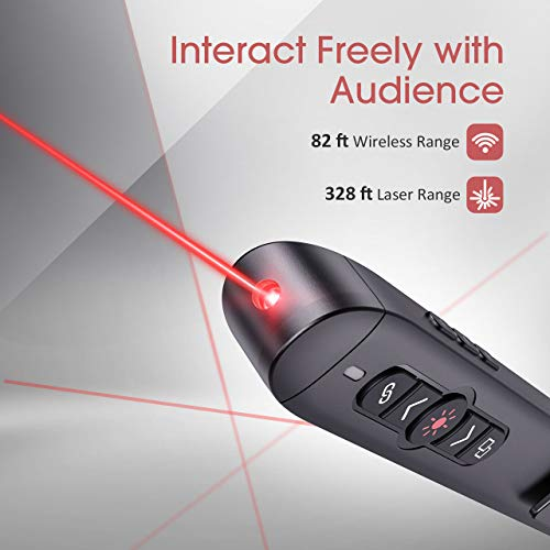 VicTsing (Upgraded Version) Presentation Clicker with Laser Pointer, 2.4GHz Wireless Clicker, Switch Windows/Hyperlink/Volume Control/Video Pause, Red Laser Pen for Google Slides, PowerPoint, Prezi