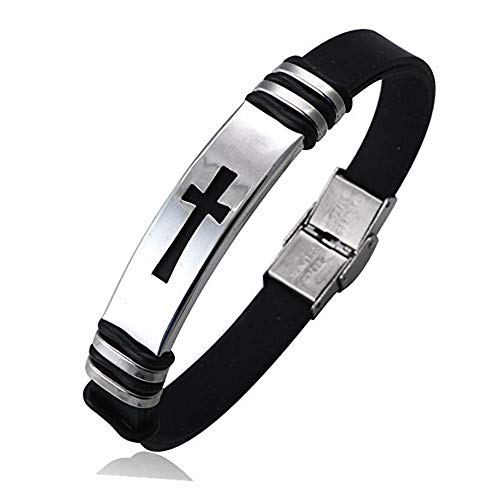 Cross Bracelets for Men, Handmade Adjustable Stainless Steel Religious Bracelet with Leather for Couples Boys and Man Christian (C - Cross Silver)