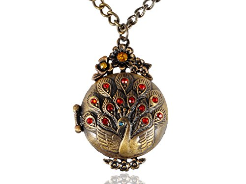 Alilang Womens Antique Vintage Inspired Golden Toned Rhinestone Peacock Bird Locket Pendant Necklace