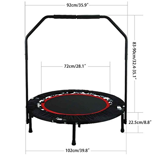 Foldable Mini Trampoline with Adjustable Handle Bar Fitness Rebounder Bungee-Rope-System Trainer for Kids or Adults Zero Stretch Jump Mat - Maximum Load 300lbs