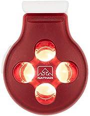 Nathan - Luz de seguridad LED estroboscópica con clip, extremadamente potente, tamaño de un cuarto, resistente a la intemperie, para correr, caminar, perros, niños, ciclismo, rojo o amarillo