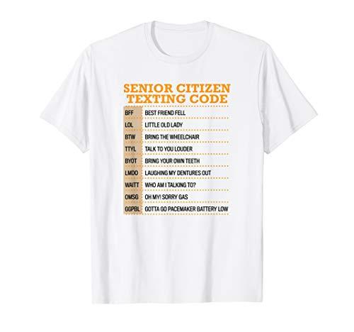 Funny Senior Citizen Texting code Technology Gift T Shirt (Citizen White T-shirt)