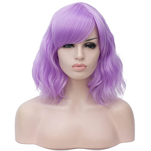 Cying Lin 14 Inches Wigs for Women Girls Short Curly Synthetic Wig with Side Bangs Wigs for Women (Pink Purple)]()