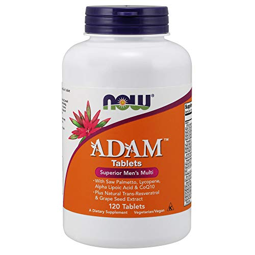 NOW Supplements, ADAMTM Men's Multivitamin with Saw Palmetto, Lycopene, Alpha Lipoic Acid and CoQ10, Plus Natural Resveratrol & Grape Seed Extract, 120 Tablets