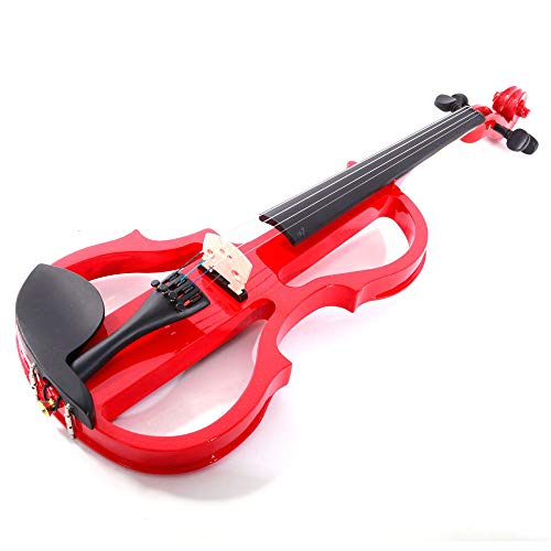 GHP Red Maple Ebony & Arbor 4/4 Electric Silent Violin with Case Bow Rosin & Headphone by Globe House Products