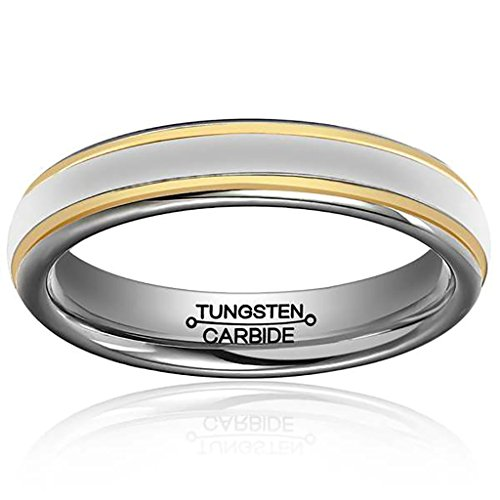 Ice Costume Couples And Fire (Tianyi 4mm Polished Silver Tungsten Carbide Ring 2 Gold Stripes Wedding Band Size)