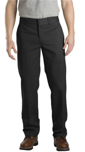 Dickies Men's Slim Straight Fit Work Pant, Black, 42X30