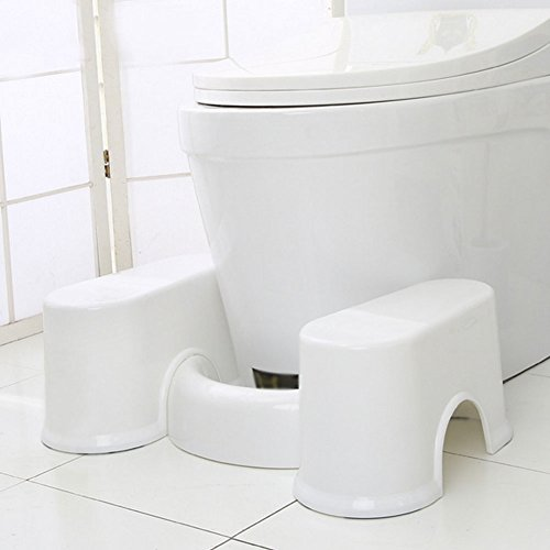 Zeroyoyo Compact Bathroom Toilet Step Stool for Kids Pedicure Footrest Toddler's Stool for Potty Training Detachable White
