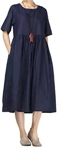 acced0e2c3c1 Mordenmiss Women's Cotton Linen Dress Summer Midi Dresses with Pockets