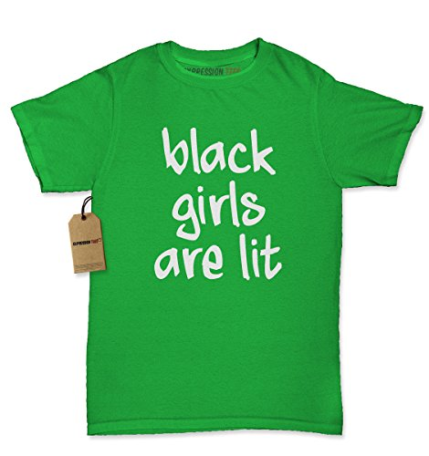 Womens Black Girls Are Lit T-Shirt Medium Kelly Green - Harriet Tubman Costume For Kids