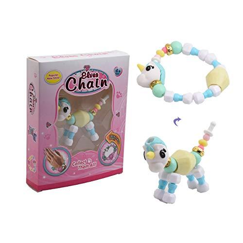 LEATOU Variety Cartoon Animal Magic Twist Bracelet Bead Chain Necklace Kids DIY Pets Toys Gift- Unicorn Hippo Dog Elephant - Make a Bracelet Twist into a Pet (Unicorn)