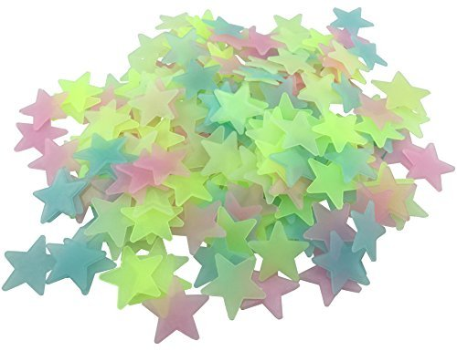 HoneyToys 200PCS 1.2'' Luminous Stars Glow in the Dark Fluorescent Noctilucent Plastic Wall Stickers Decals for Home Ceiling Wall Baby Kids Bedroom (Multi-Color)