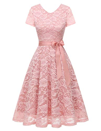 Bridesmay Women's V Neck Floral Lace Cocktail Party Bridesmaid Dress with Sleeves Pink-2 M