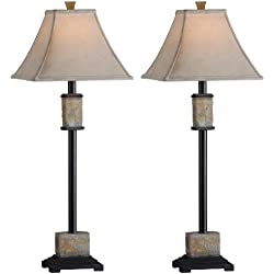 Kenroy Home 31201 Bennington Buffet Lamp, 2 Pack, Natural Slate