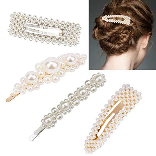 (Pearls Hair Clips Pearl hairpin 4 pcs Big Pearl Hair Barrettes for Women Girls 8