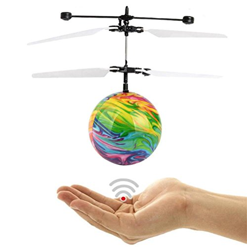 Flying RC Ball, Forthery Kids Hand Suspension Helicopter Aircraft LED Flying Ball Drone Toy Gift (Falls Christmas Hoverboard)