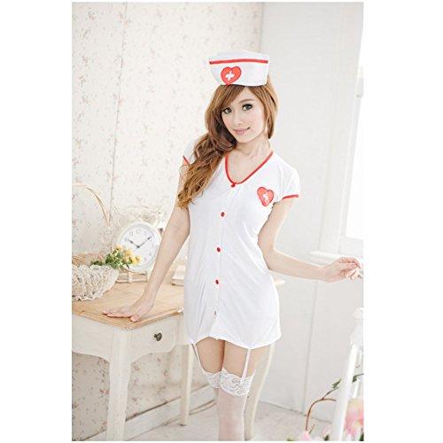 Sexy White Head Nurse Uniform Costume Cosplay Lingerie mini Dress + Cap+G-string