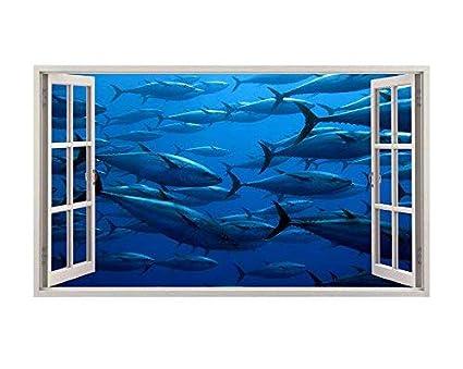 A049 - Adhesivo Decorativo para Pared de Acuario, diseño de Peces, tiburón, océano