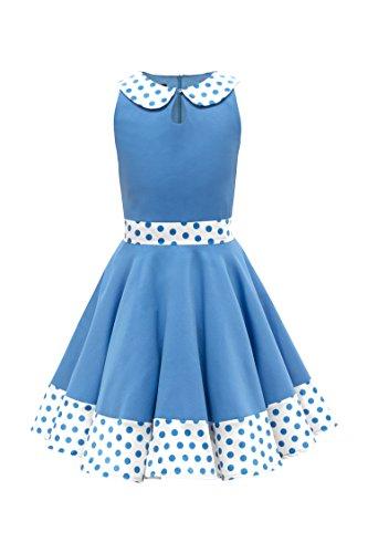 BlackButterfly Kids 'Zoey' Vintage Polka Dot 50's Girls Dress (Blue, 13-14 YRS) -