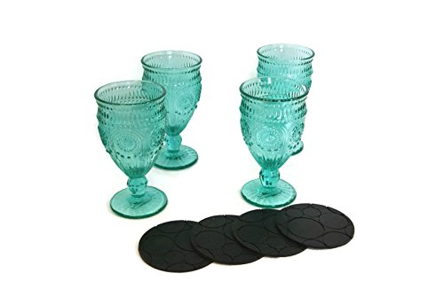 Black Water Goblet (The Pioneer Woman Adeline Embossed 12-Ounce Footed Glass Goblets with Black Farberware Coasters, Set of 4)