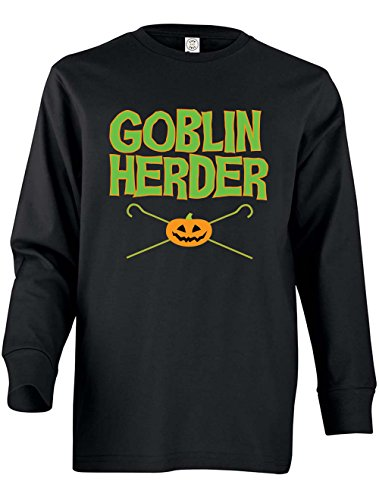 Tenacitee Girl's Youth Goblin Herder Long Sleeve T-Shirt, X-Small, Black