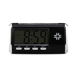 Beenwoon Hidden Camera Alarm Clock (Upgraded) Full 1080P Motion Detection Loop Video Recorder Spy Camera Mini Surveillance Camera, Black