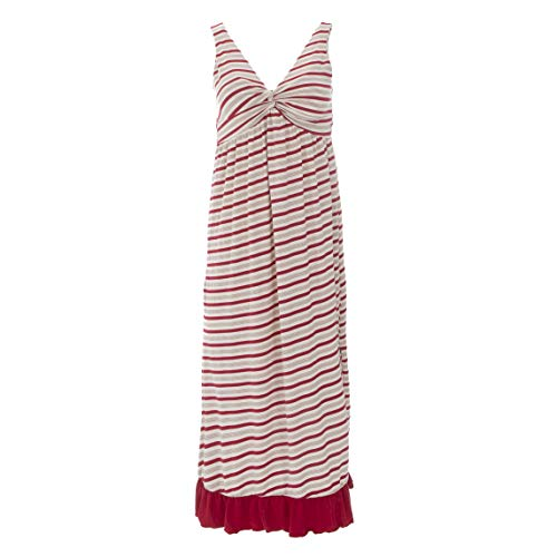 - Kickee Pants Women's Print Twist Nightgown - Rose Gold Candy Cane Stripe, Large