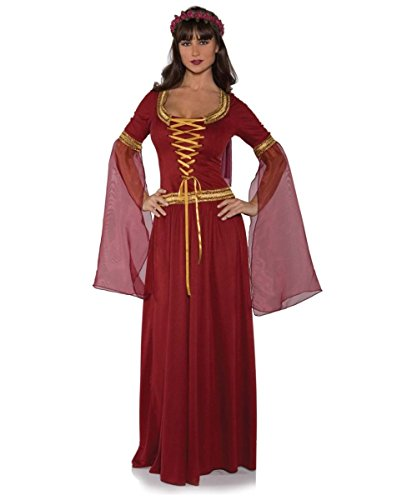 Adult Renaissance Costumes Womens Queen (Underwraps Costumes Women's Renaissance Queen Costume - Maiden, Burgundy,)