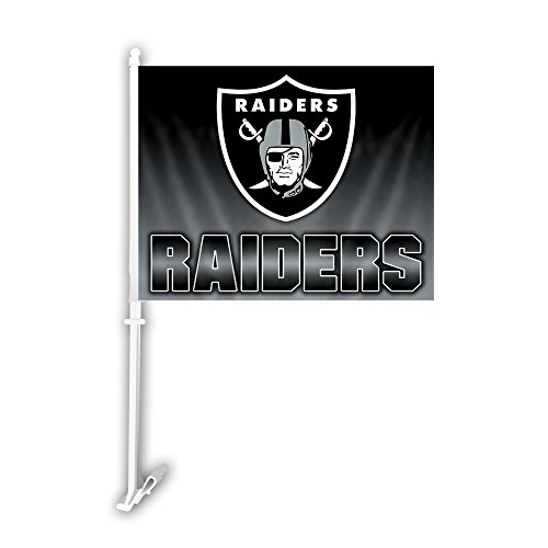 NFL Oakland Raiders Car Flag with Wall Brackett, One Size, (Raiders Car Flag)