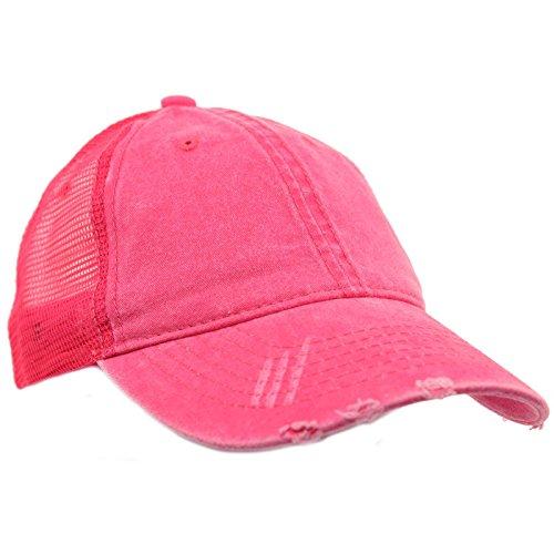 (Unisex Distressed Low Profile Trucker Mesh Summer Baseball Sun Cap Hat Hot Pink)