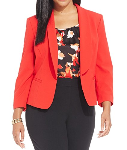 Nine West Women's Plus-Size Long Sleeve Kiss Front Suit Jacket, Cherry, 22W