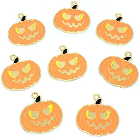ストアーズクラブ 8個 ジャックオーランタン ハロウィン ゴールドチャーム かぼちゃ 手芸