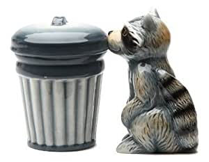 Racoon and TrashMagnetic Ceremic Salt and Pepper Shakers by Pacific Trading
