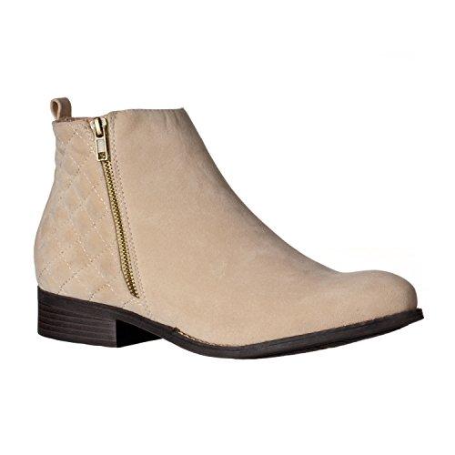 Riverberry Women's Jada Quilted, Low Heel Zip-Up Ankle Bootie Boots, Stone Suede, 7.5